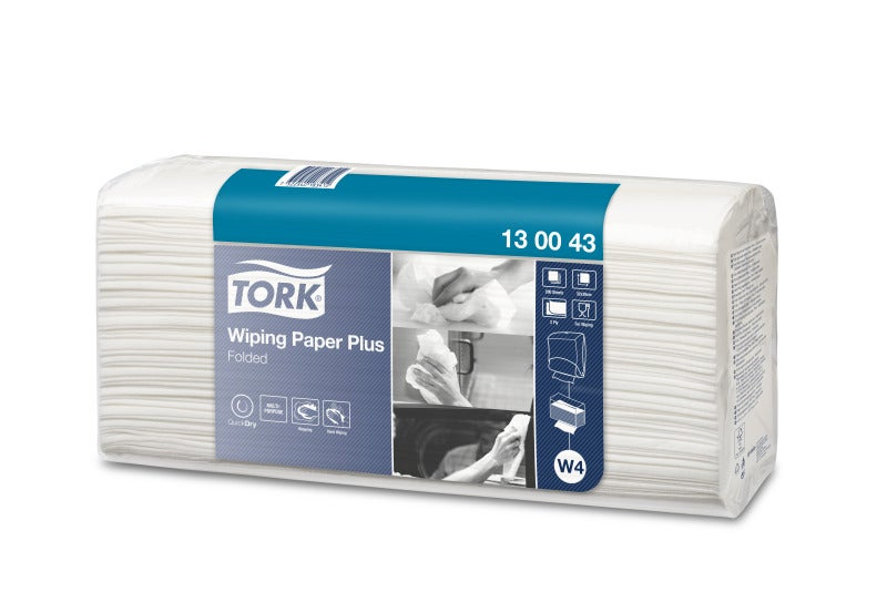 Tork W4 Wiping Paper Plus Folded 2Ply - White Pack (200 Pcs)