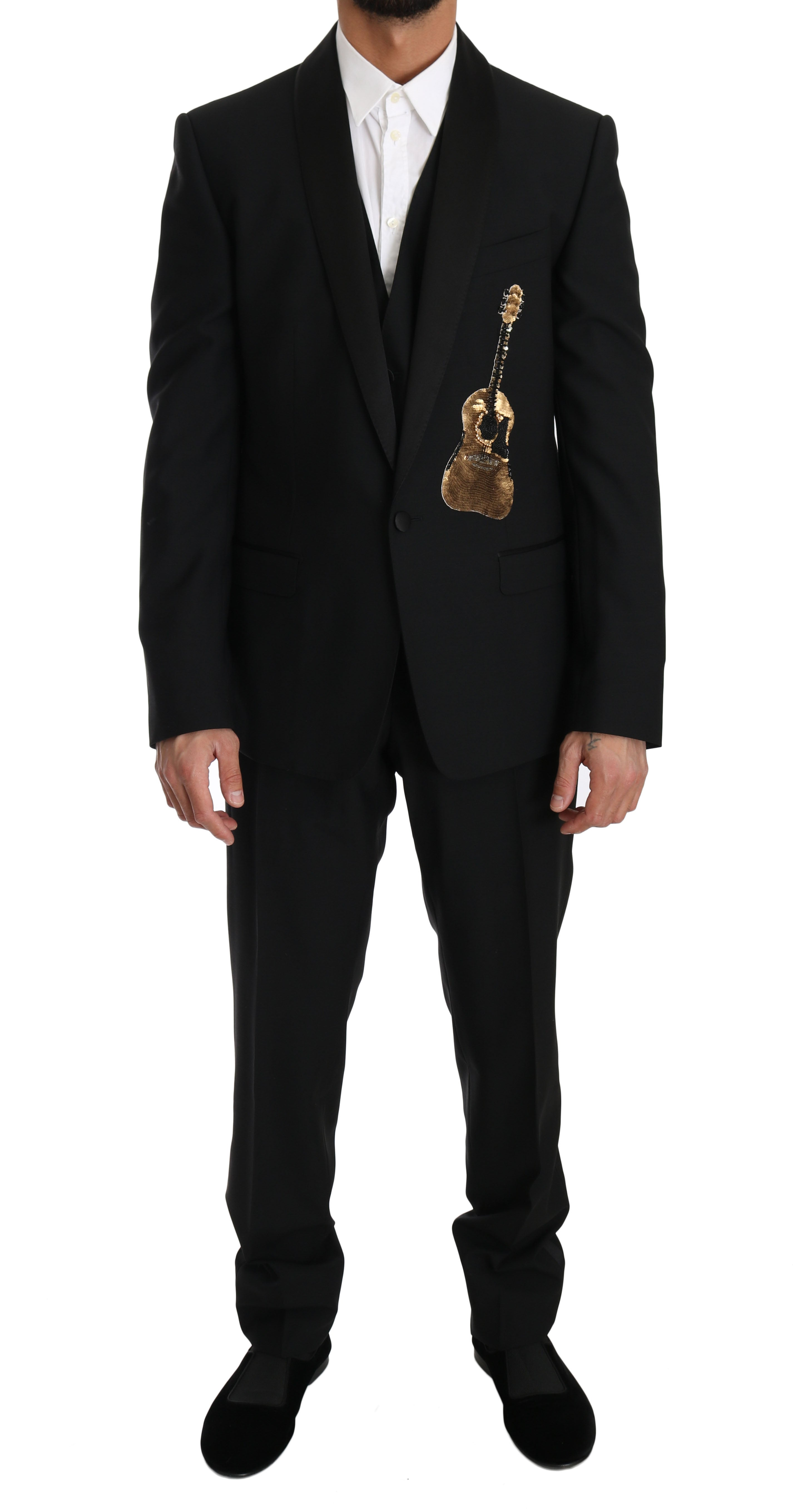 Dolce & Gabbana Black Wool 3 Piece Sequin Guitar Suit