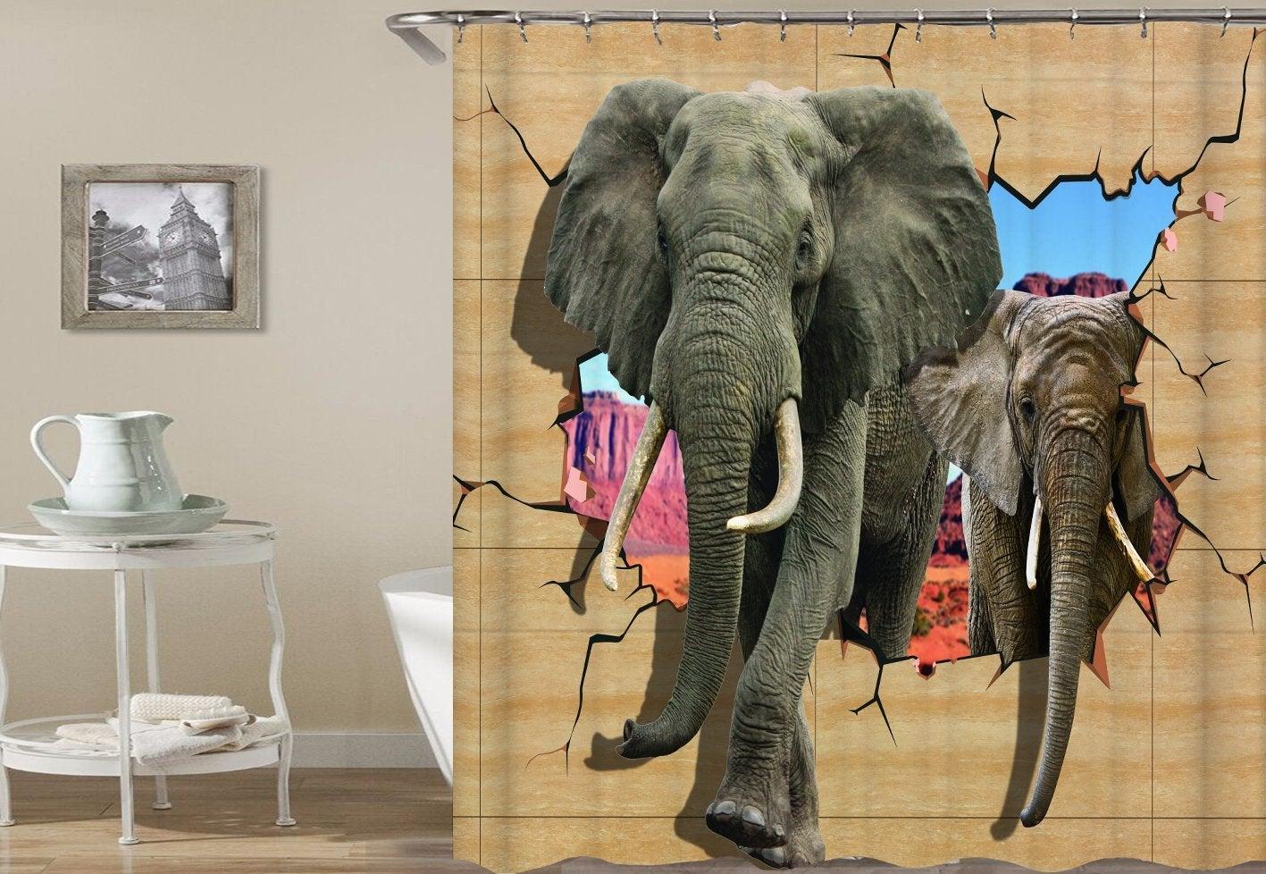 Elephants Breaking A Wall Shower Curtain