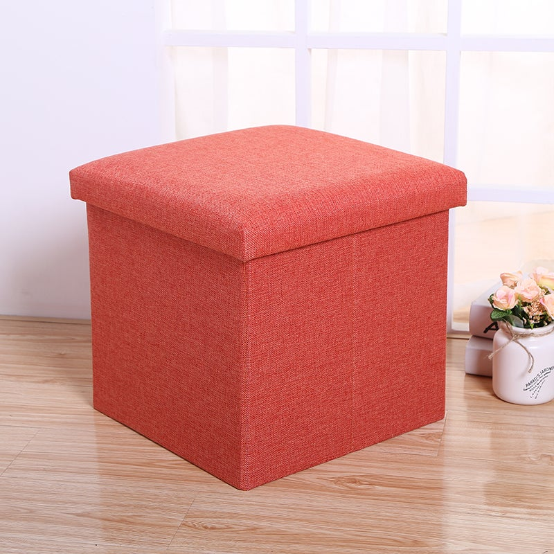 Foldable Storage Stool Orange Colour