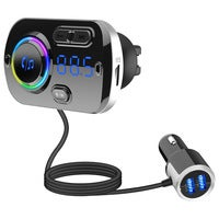 Bluetooth FM Transmitter for Car,Bluetooth 5.0 Radio Car Adapter QC3.0 & LED Backlit with Dual USB Ports Bluetooth Car Adapter Hand-Free Calling MP3 Music Player