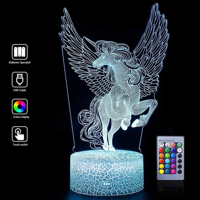 3D Unicorn Night Light for Kids, 3D LED Illusion Lamp , Best Christmas for Boys & Girls Kids' Bedroom Livingroom