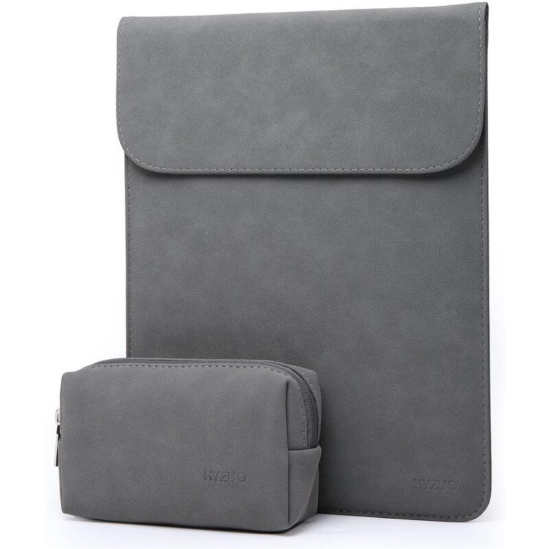"""Waterproof laptop case, Laptop Sleeve Case Faux Suede Leather Notebook Bag for MacBook Air / Pro with Accessories Pouch Grey suitable for 11.6""""/12.5""""/13.3""""/14""""/15.6""""/16"""""""
