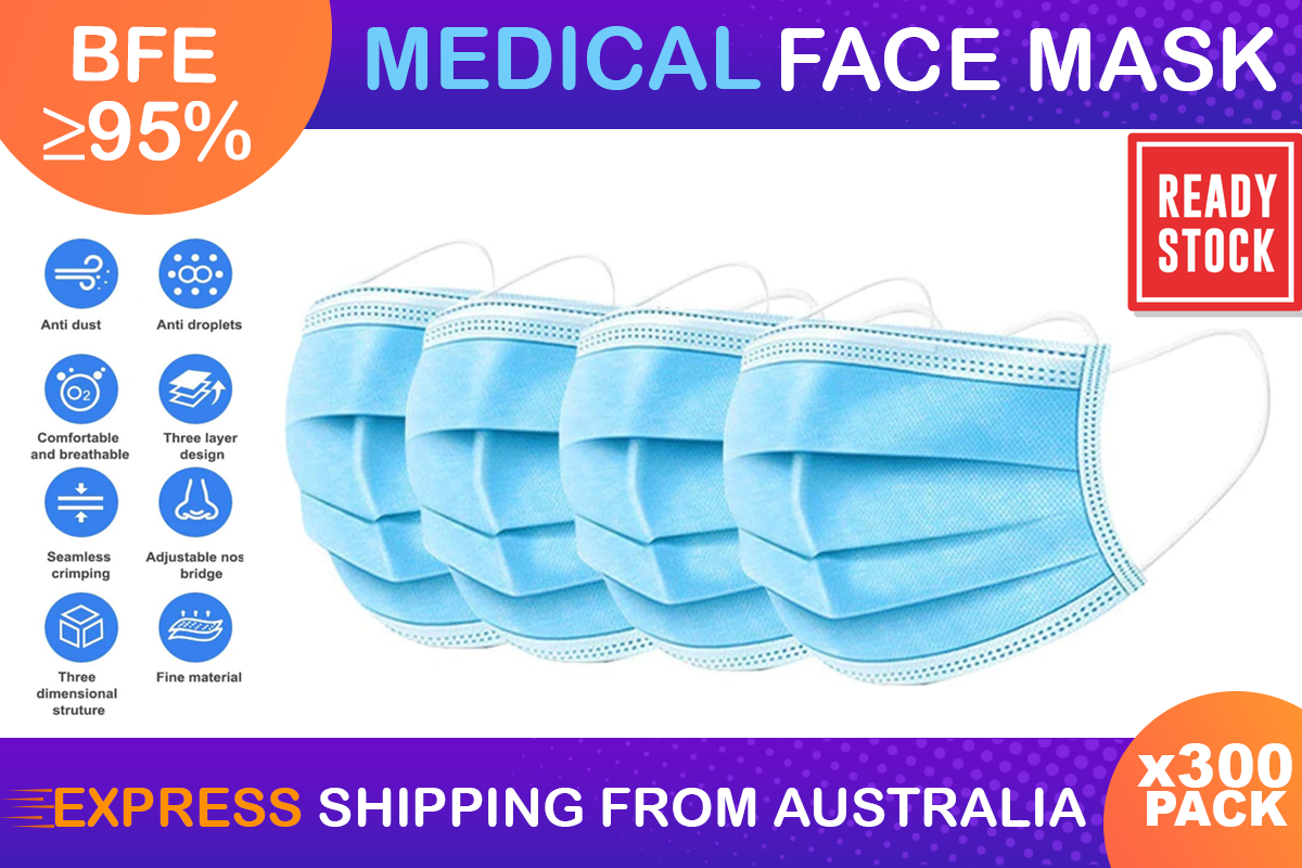 300 X Protective Disposable Face Mask Medical Masks 3 layers