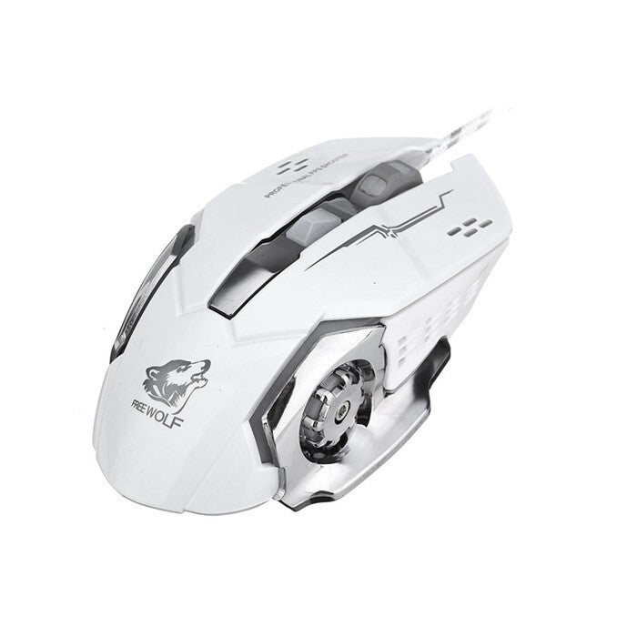 4000DPI 6 Button LED Optical Gaming Mouse Mechanical Macro Programmable for PC Laptop WHITE COLOR