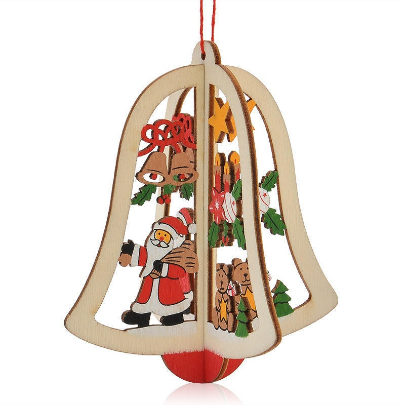 5PCS Christmas 3D Wooden Pendant Star Bell Tree Hang Ornaments Home Party Decorations Kids Gifts BELL TYPE