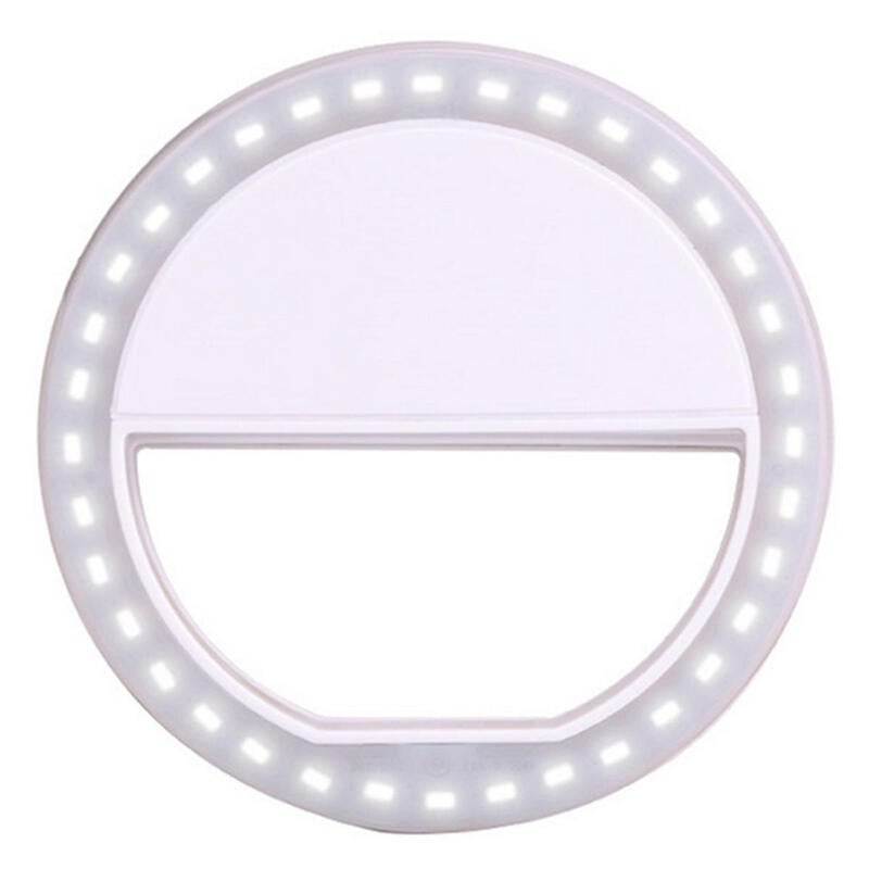 Portable LED Ring Flashlight Camera PhotographY-adapter For IPhone Mobile Phone WHITE COLOR