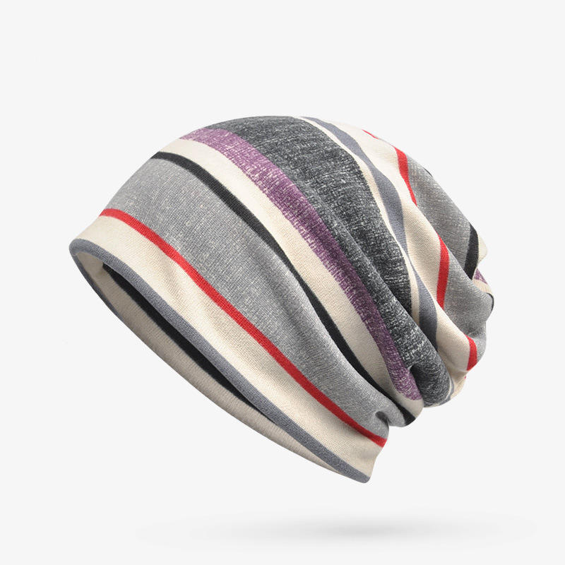 Unisex Autumn Winter Warm Polyester Striped Hat Multi Functional Outdoor Cycling Turban Hat Scarf GRAY COLOR