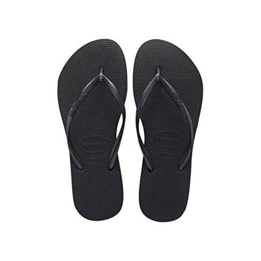 Havaianas Women's Hav Slim Black Flip Flops 4000030.0090.412- 8 UK