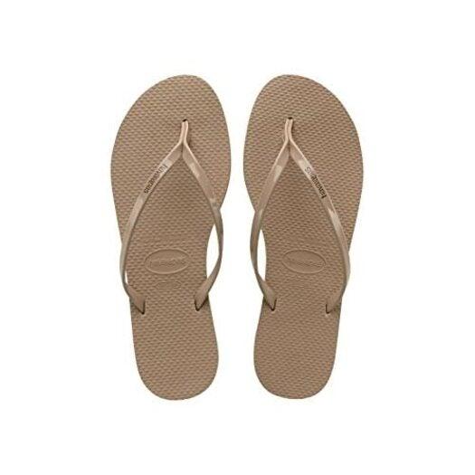 Havaianas Womens Metallic Flip Flops,Rose Gold,8.5 UK (43/44 EU) (41/42 BR)
