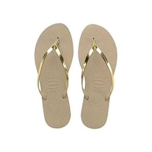 Havaianas You Metallic, Women's Flip Flops, Beige (Sand Grey/Light Golden 2719), 4.5 UK (39/40 EU)