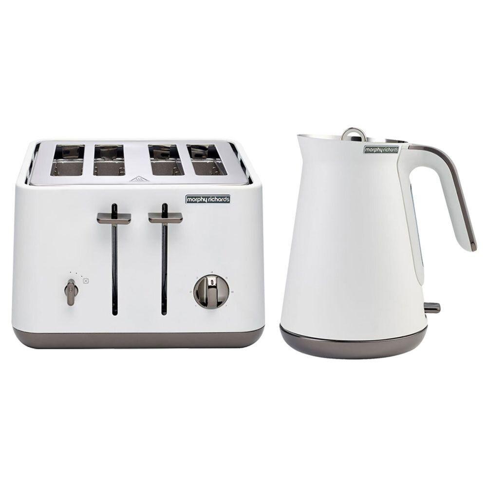 Morphy Richards Aspect Black Chrome Kettle & Toaster Pack - Lux White