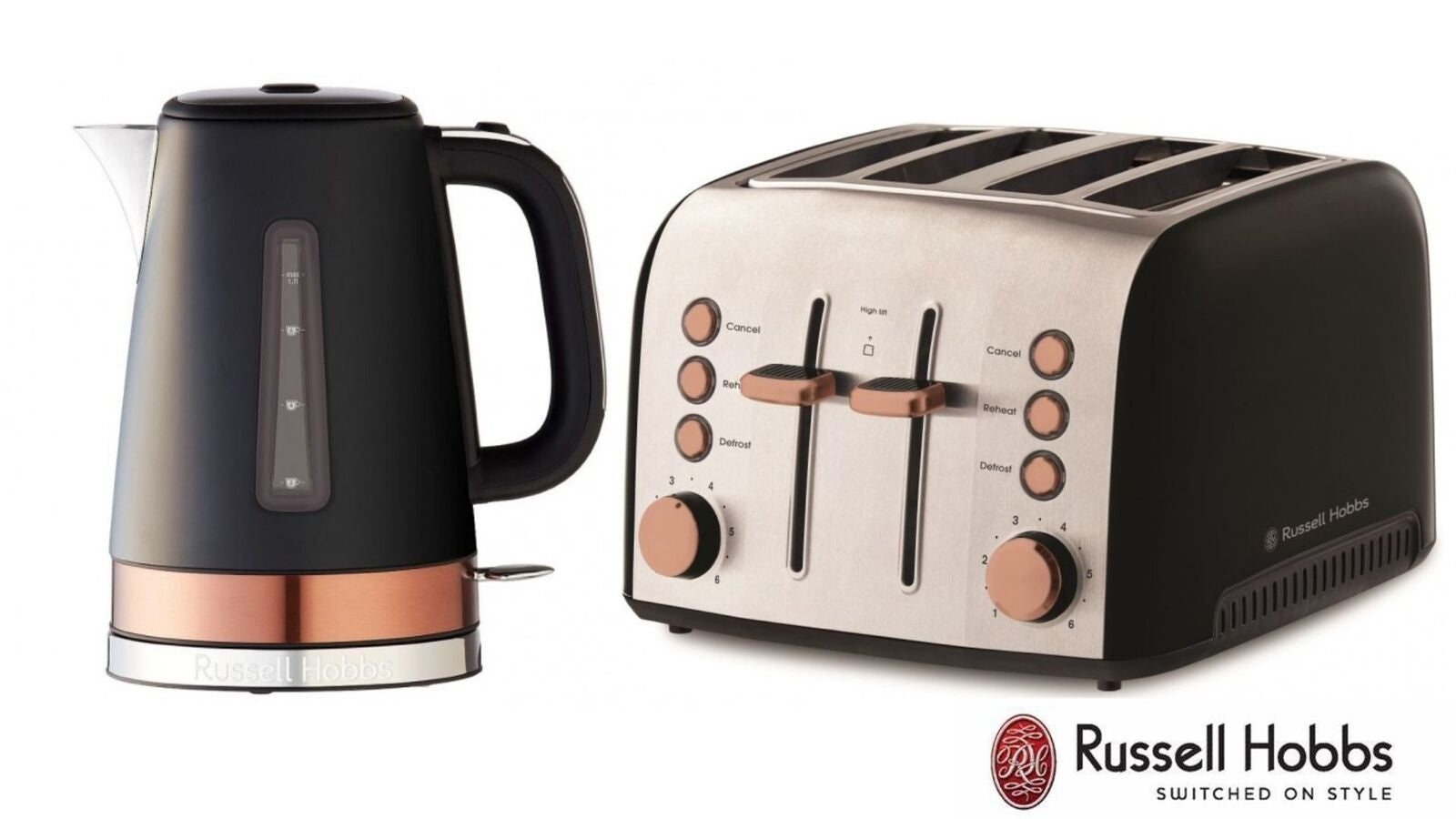 Russell Hobbs Brooklyn 4 Slice Toaster Kettle Set - Black/Copper