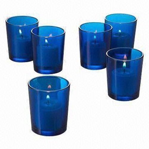 10 x Blue Glass Votive Tea Light Candle Holder