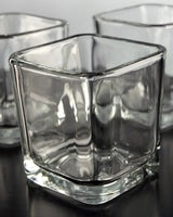 10 Pack of Clear Glass Square Tealight Candle Holder - 5cm - Wedding Table Decoration