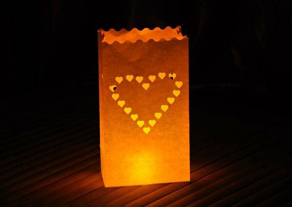 10 Pack - Heart of Hearts Candle Lantern Luminara Bag