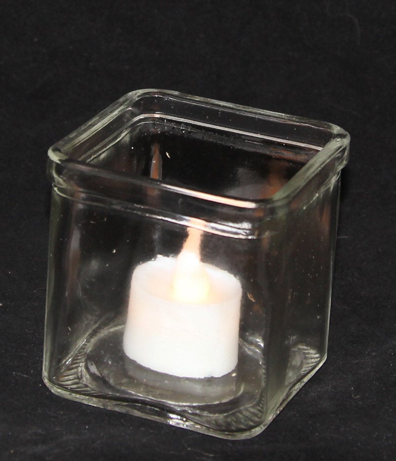 10 x Large Clear Glass Square Tealight Candle Holder 7.5cm
