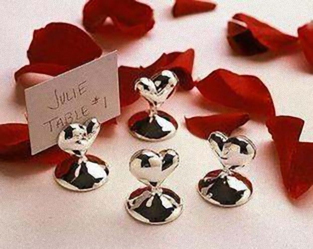 10 Pack of Silver HEART Wedding Bomboniere Name Place Card Stand