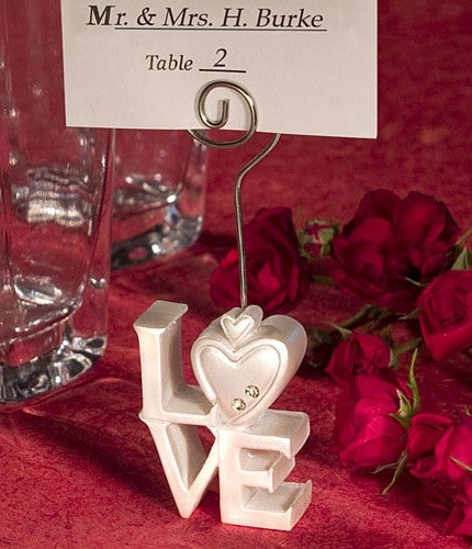 10 Pack of White LOVE letter Wedding Bomboniere Name Place Card Stand