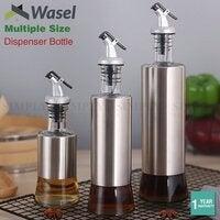 Wasel Kitchen Oil Dispenser Olive Vinegar Pourer Stainless Steel Glass Bottle