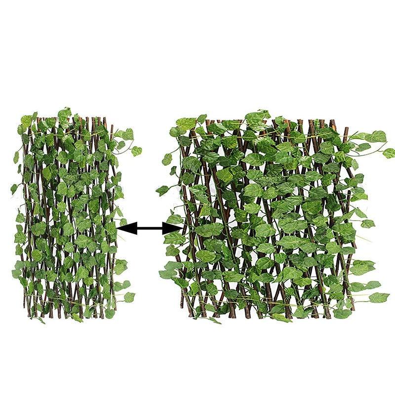 Expanding Trellis Artificial Plant Garden Green Wall Leaf Ivy Wood Fence 280cm