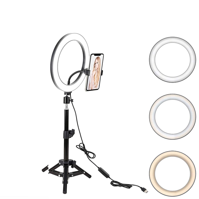 "Kartech LED Ring Light Stand Lamp Diffuser Selfie Makeup Live Tripod 7""/10"""