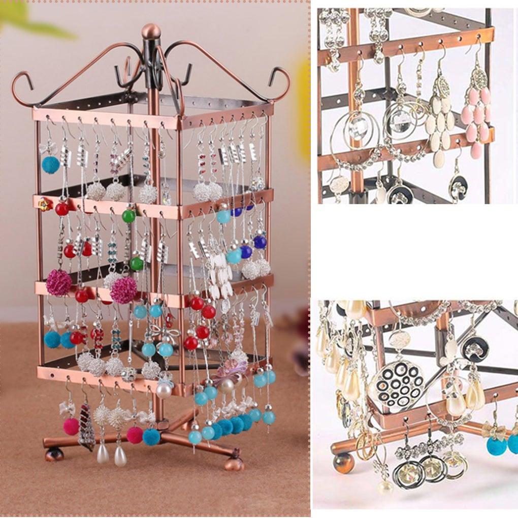 128 Holes Jewelry Earring Bracelet Necklace Holder Organiser Rack Stand Hanger Bronze