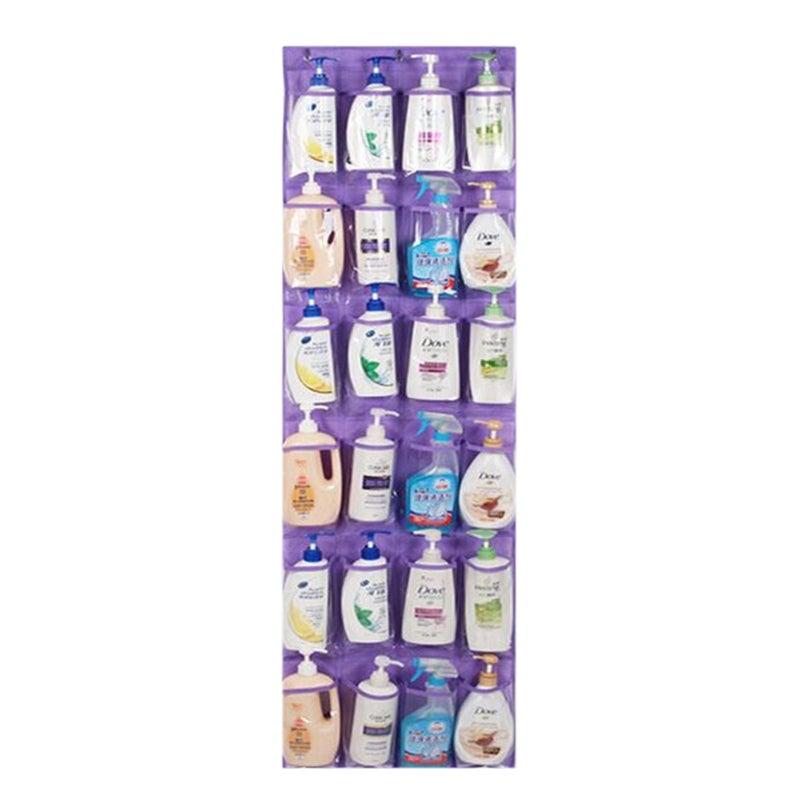 24 Pocket Shoe Organiser Holder Over Door Bag Hanging Shelf Rack Storage Hooks Purple