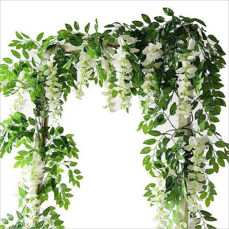 4 Pack White Artificial Silk Flowers Wisteria Hanging Fake Garden Plants Vines Decor Home