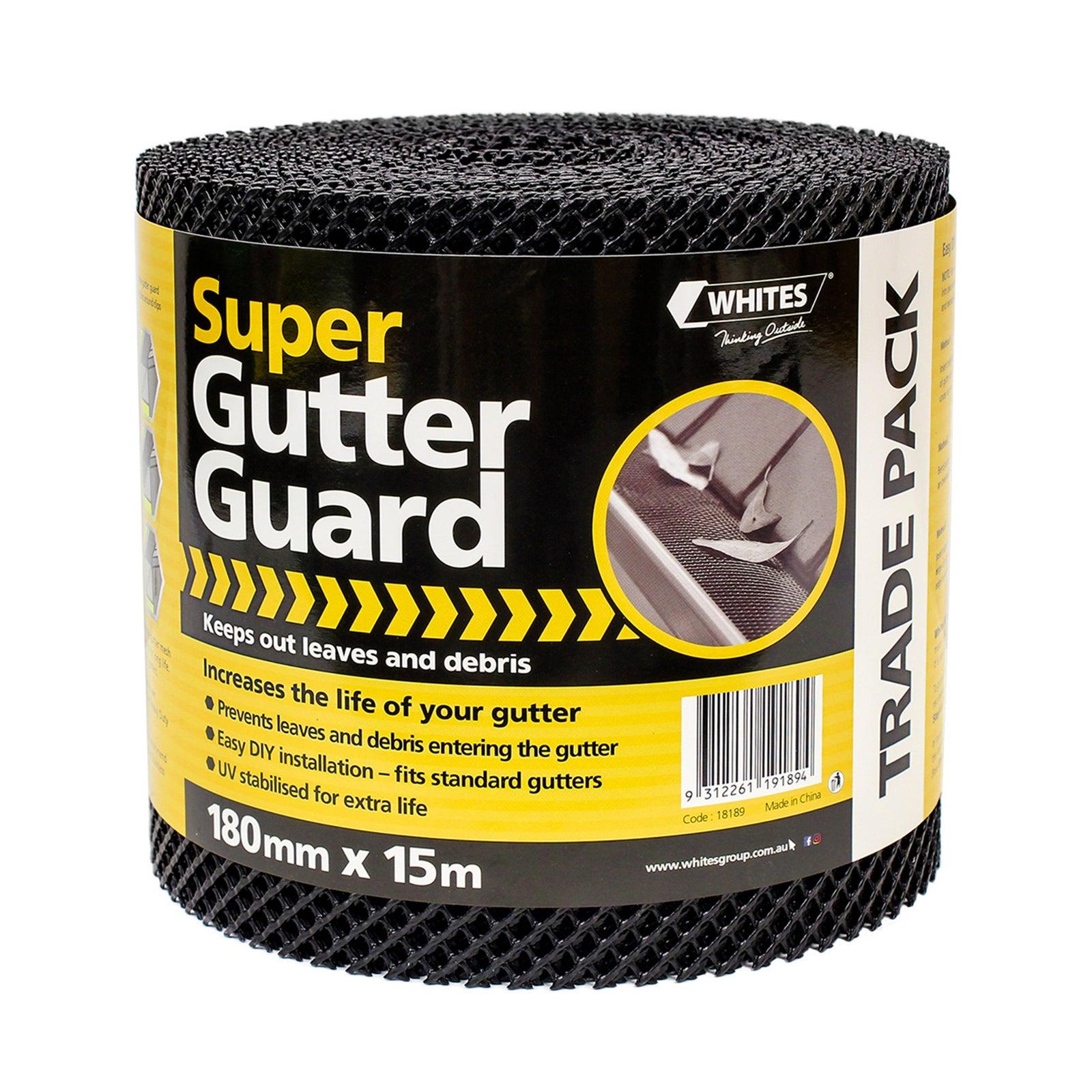 Whites Super Gutter Guard Mesh Roll 180mm x 15m - Black