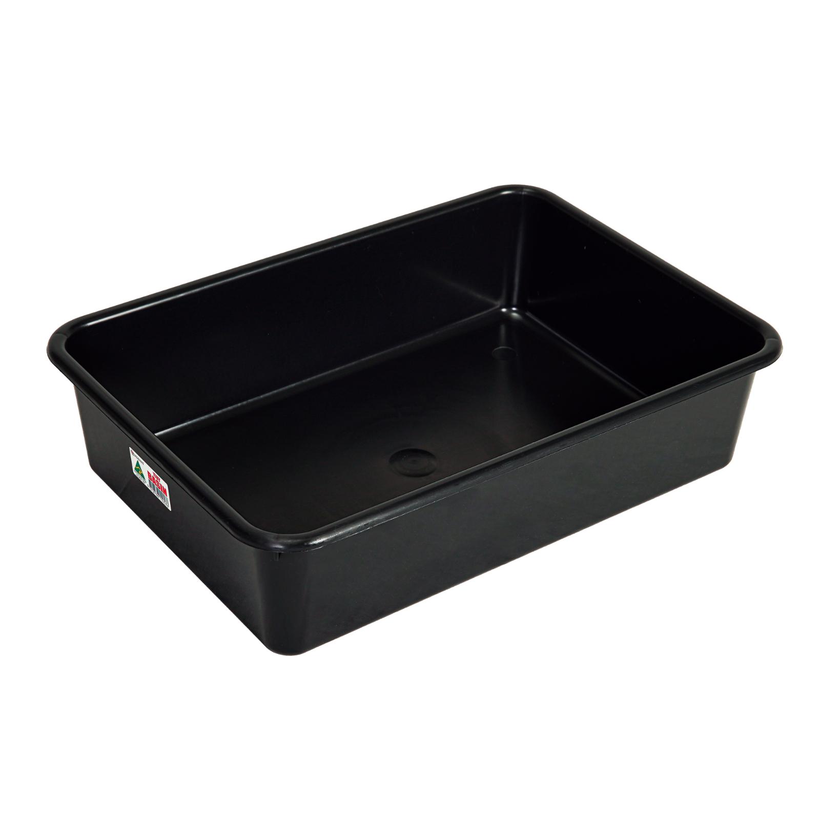 10x Heavy Duty 12L Black Plastic Basin Tub Containers Storage Crate Box Large AU