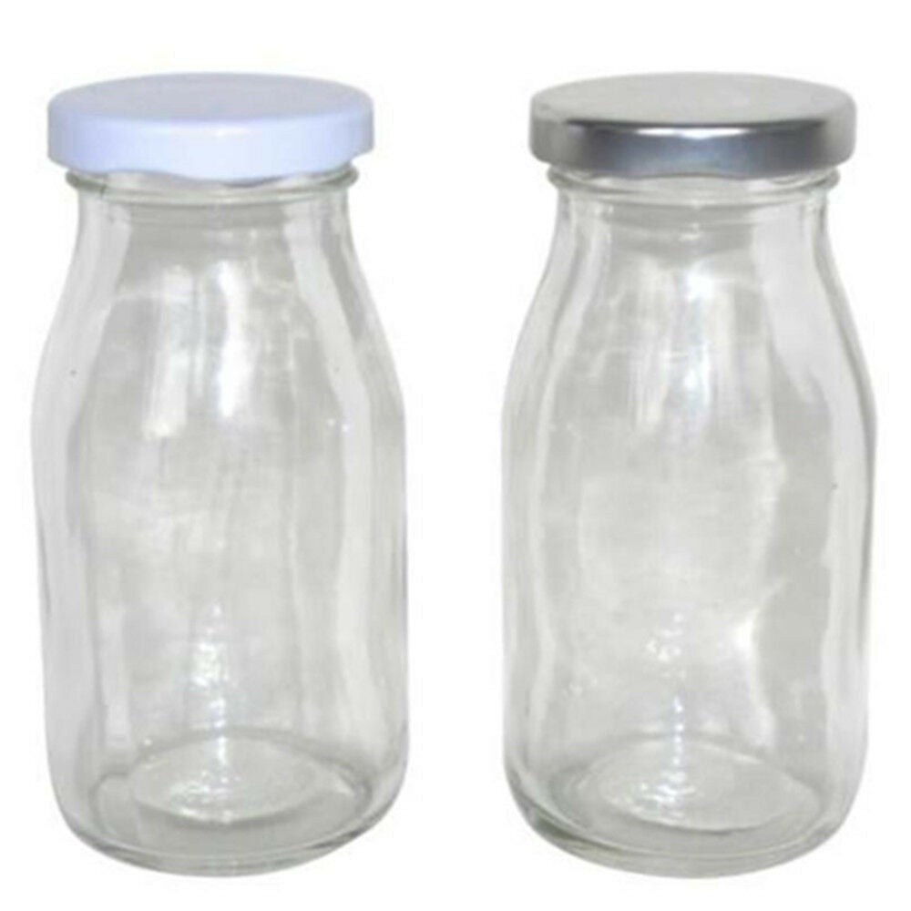 18 x Mini Small Glass Milk Juice Candy Bottle 200ML With Screw Top Silver White Lid W