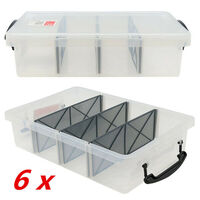 6 x 6L Clear Plastic Storage Box with Removable Dividers Containers Bin Tubs fww