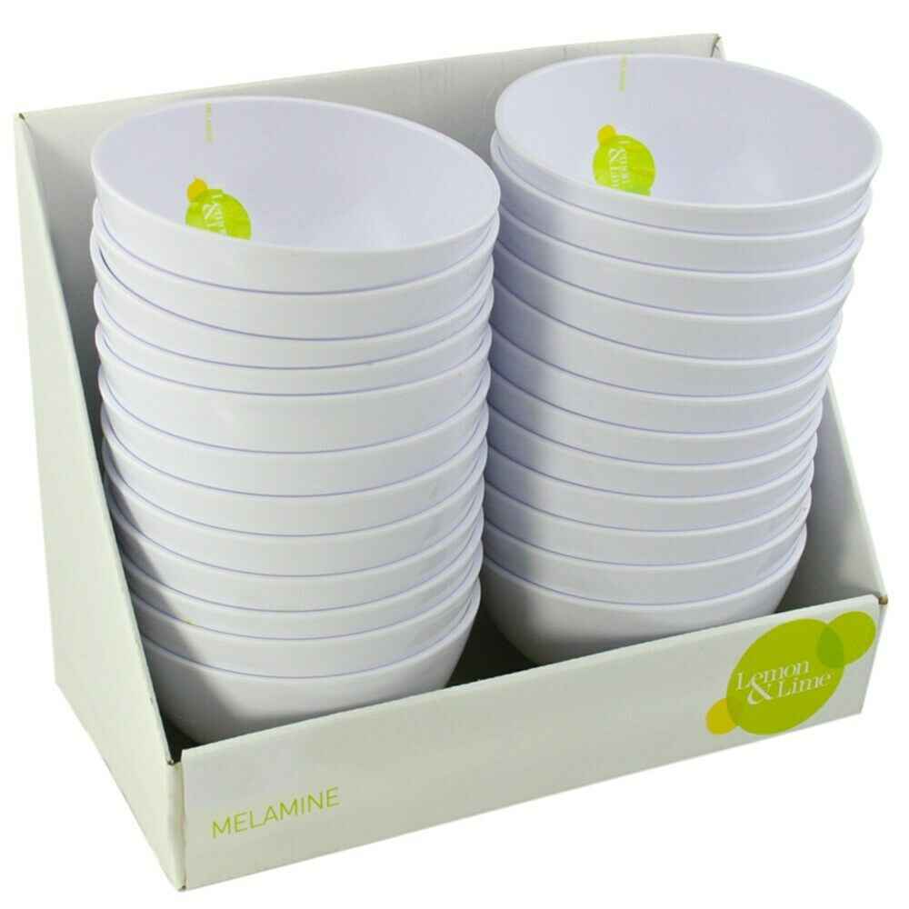 24 x White Melamine Round Rice Bowls 15x8cm Serving Catering Dinner Dessert Bowl