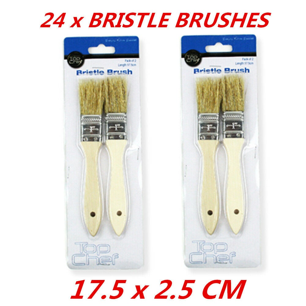 24 x Wood Handle Bristle Pastry Brush Kitchen Tool Baking BBQ Sauce Butter Oil