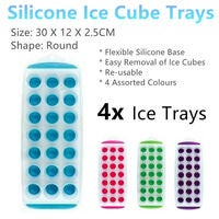 4 x Silicone Ice Cubes Trays Soft Easy 21 Slots Mould Mold Making Round Drinking