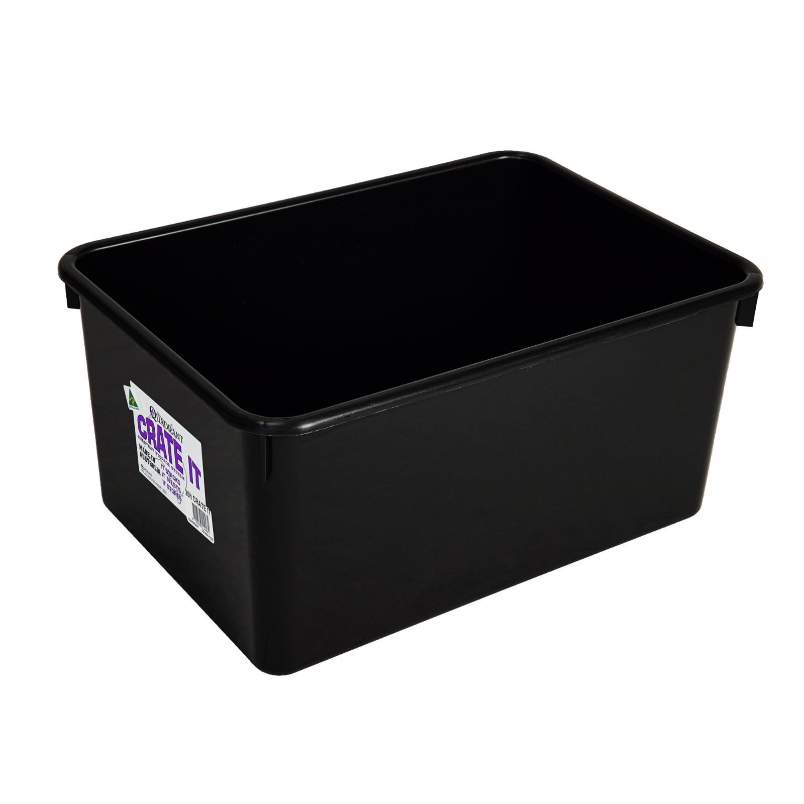 2x Large Heavy Duty 20L Black Plastic Basin Tub Containers Storage Crates Box AU