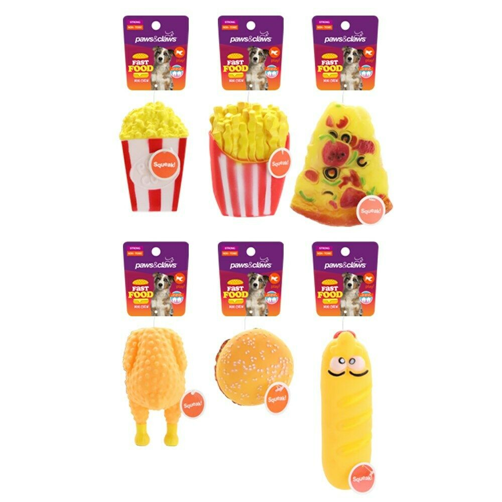 6x Squeaky Dog Chew Toy Fast Food Pet Puppy Sound Play Training Squeaker Toys