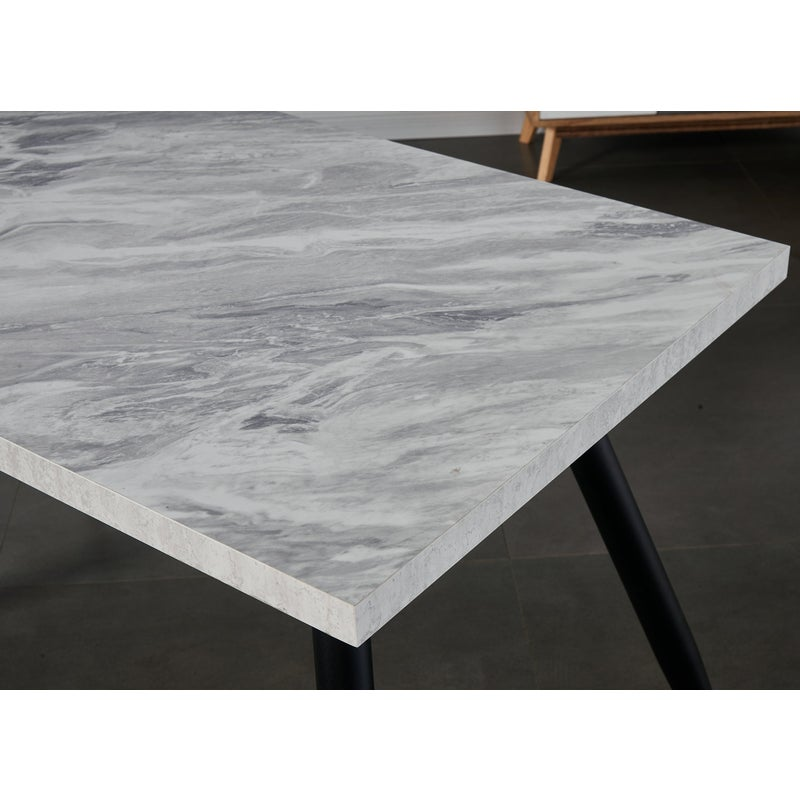 Ainpecca 1x Rectangular Dining Table Faux Marble White Look Black Steel Leg For Home Office Commercial Place Buy Rectangular Dining Tables 2907404