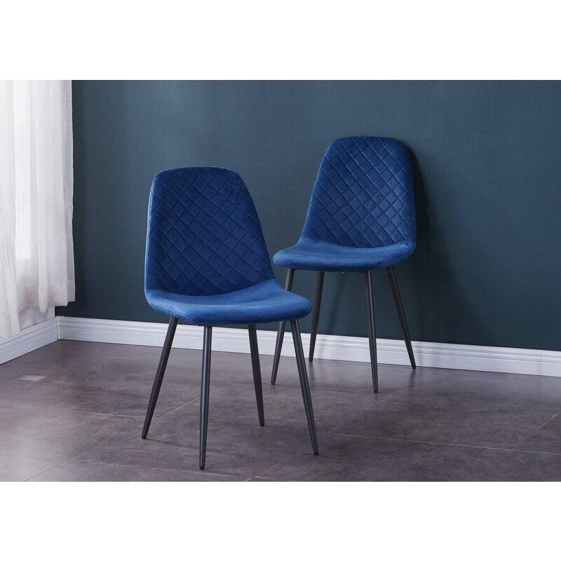 AINPECCA 2x Blue Velvet Guest chair dinning chair Metal Legs For Livingroom Dinning room Cafe Office