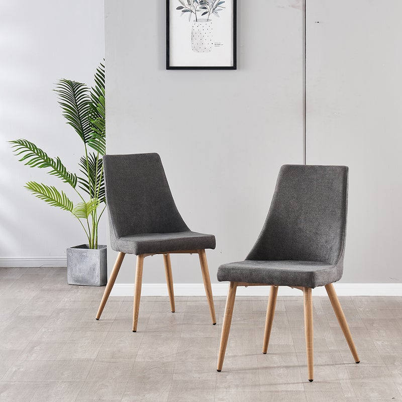 AINPECCA 2x Charcoal Dining Chair Accent Chair Metal Legs With Wood Printing For Living Room Dining Room Cafe Office