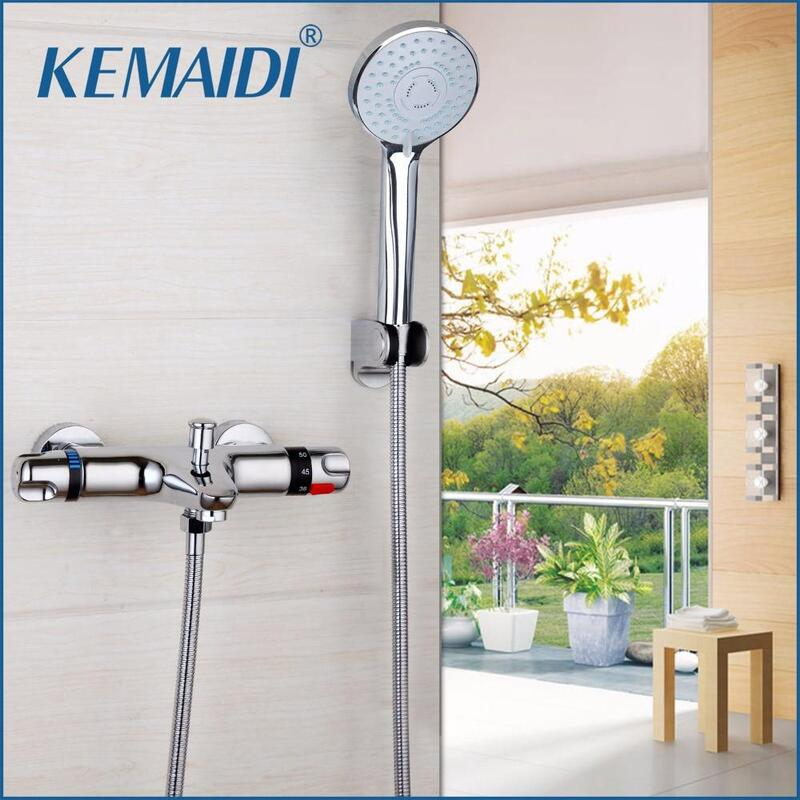 KEMAIDI Bathtub And Shower Thermostatic Faucet Shower Mixing Valve Constant Temperature Wall Mounted