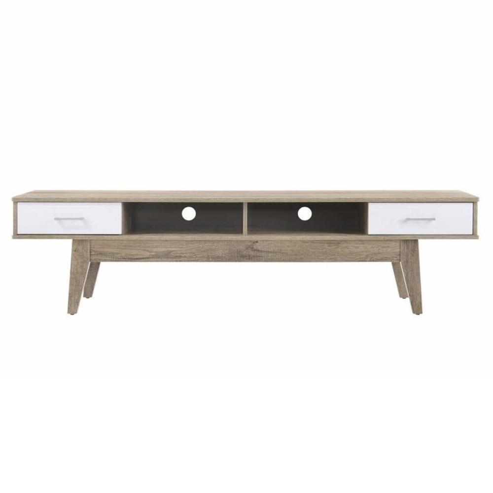 Endo Entertainment Unit TV Stand 180 W/ Drawers & Shelves cm - Natural / White