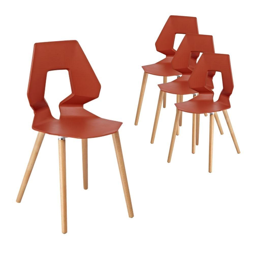 6IXTY Set of 4 - Tech Scandinavian Dining Chair - Orange