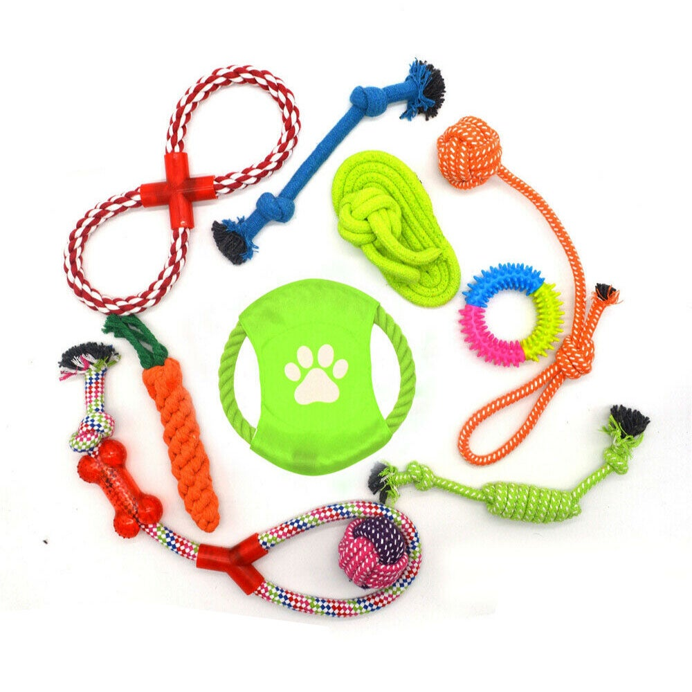 Ozoffer 10 PCS Durable Cotton Rope Pet Dog Toys Puppy Pull Teeth Chew Bite Toy Tough AU