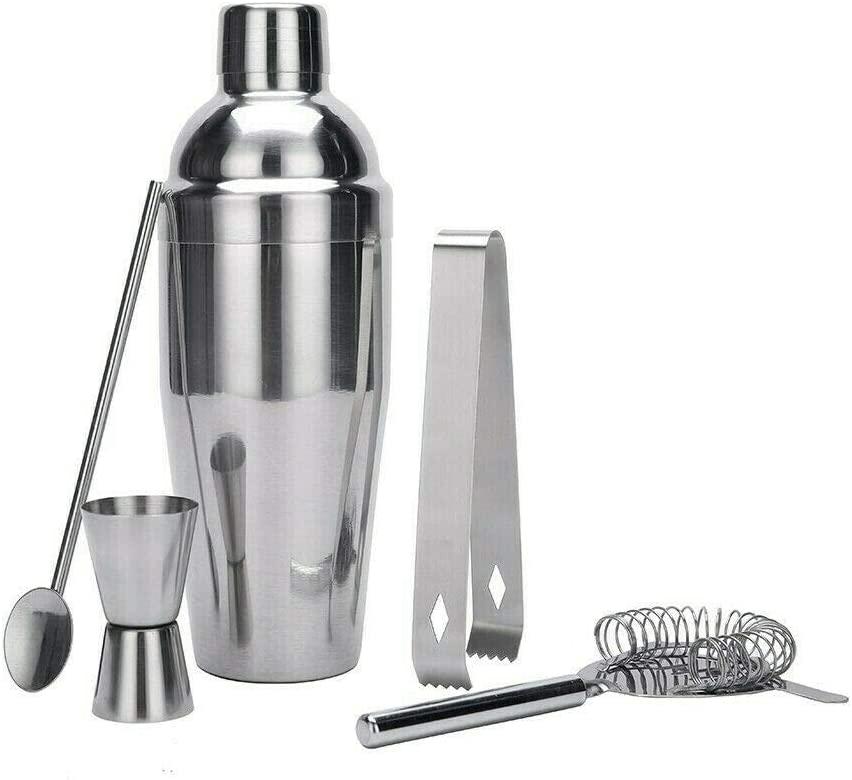 5 pcs Cocktail Shaker Set Maker Mixer Martini Bar Strainer Bartender Kit