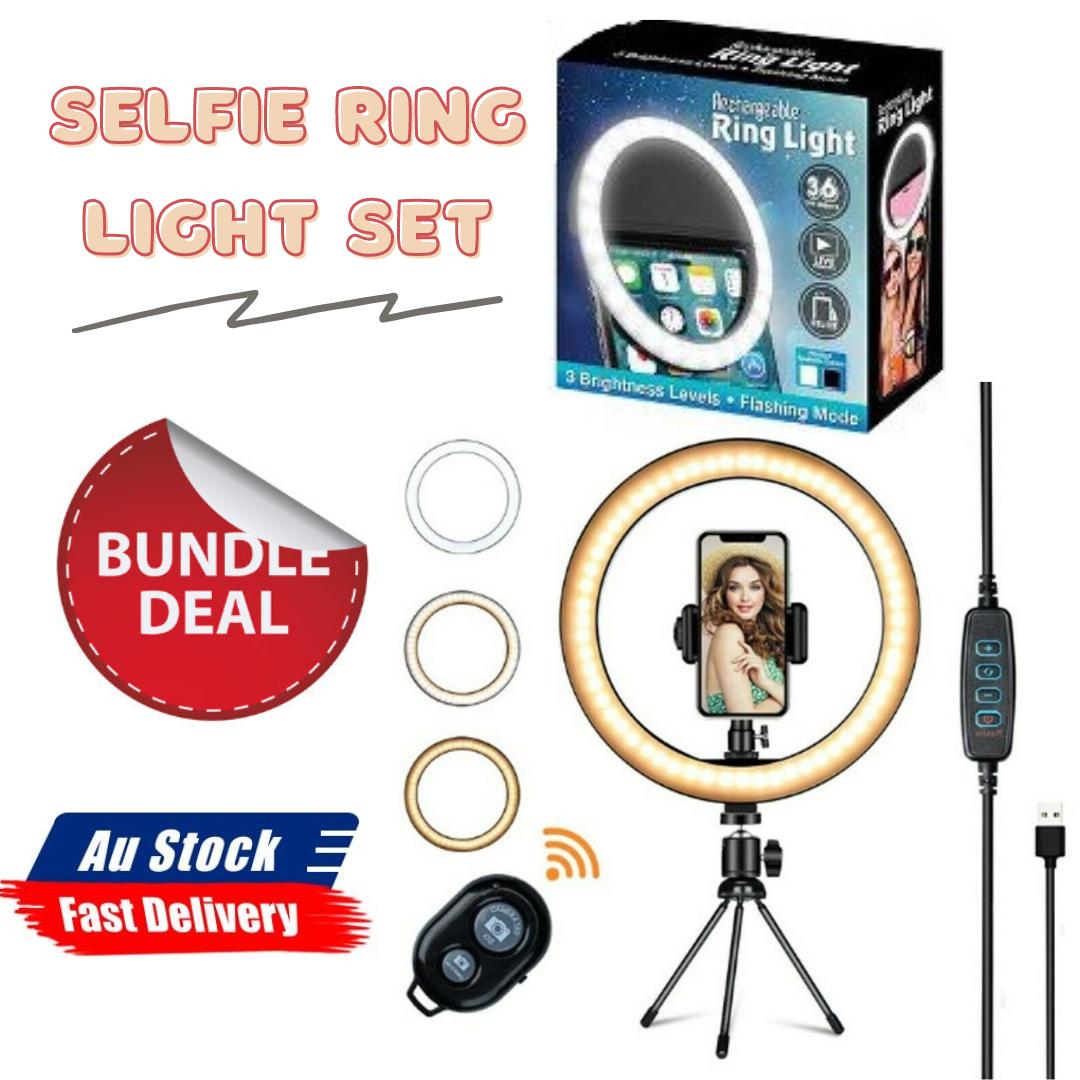 "Ozoffer 1 Set 10"" LED Ring Light+Tripod Stand & USB Rechargeable LED Selfie Ring Light"