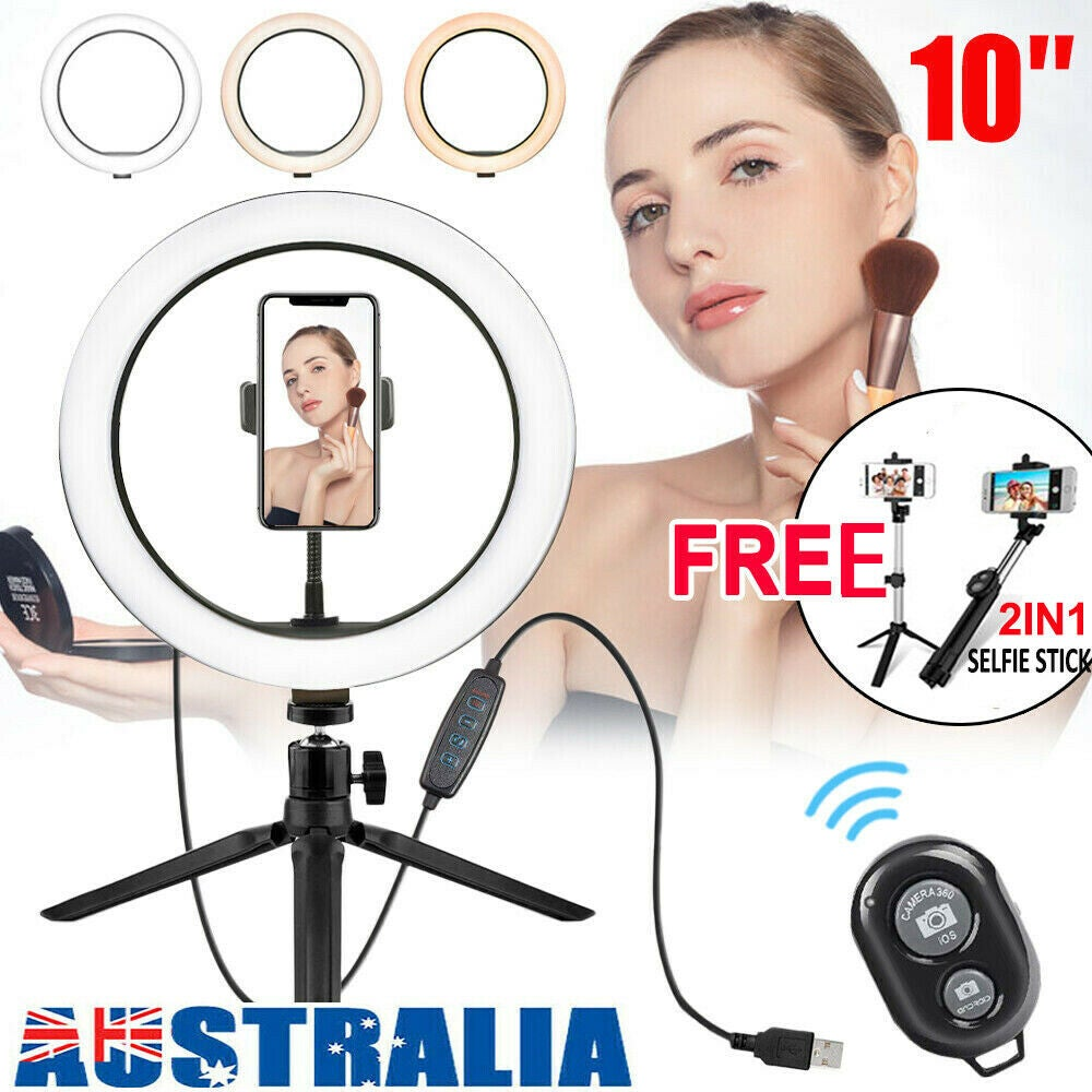 """Ozoffer 10""""Phone Selfie LED Ring Light Tripod Stand For Youtube Makeup Video Live Remote"""