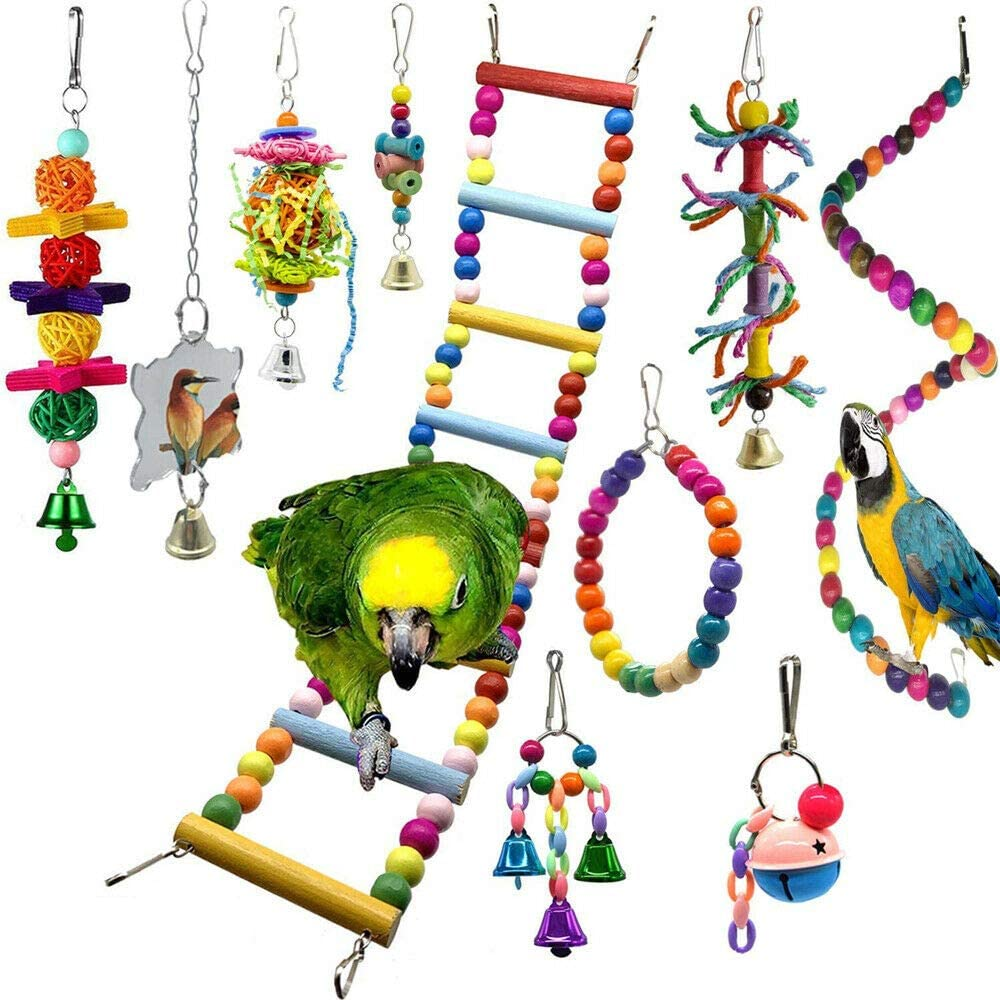 ozoffer 10pcs Bird Swing Chewing Toys Parrot Bell Hammock Parrot Cage Budgie Cockatiel