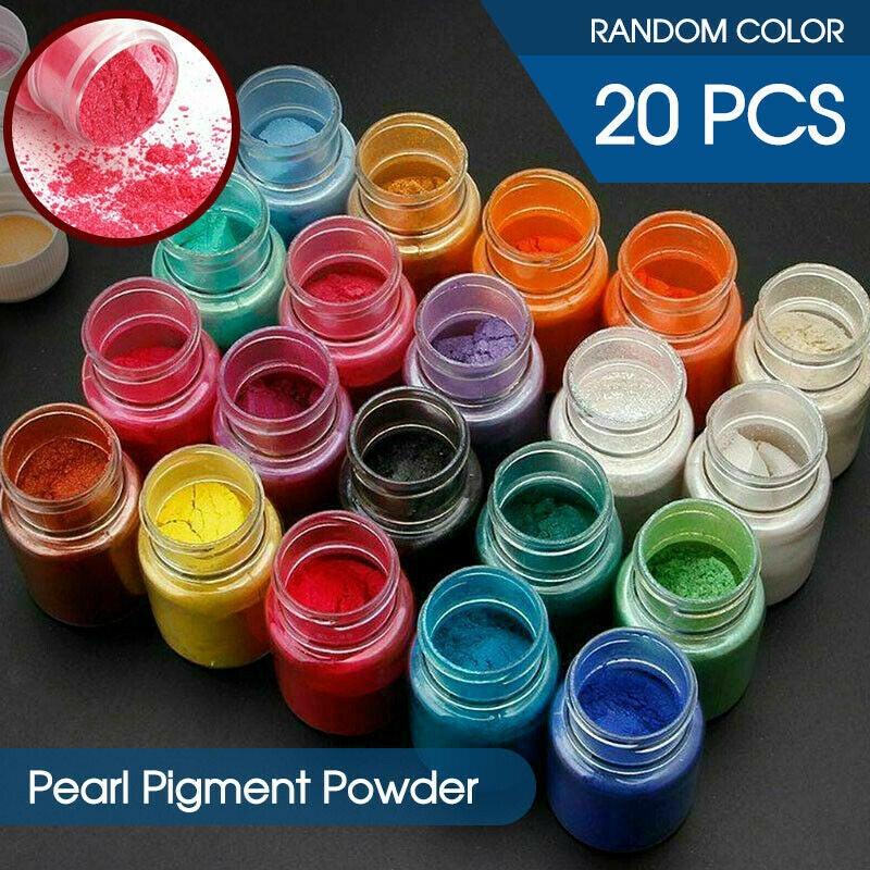 Ozoffer 20pcs Mica Powder Epoxy Resin Dye Pearl Natural Mica Pigment Mineral Powder